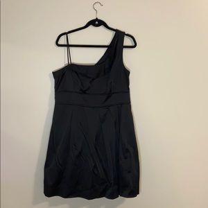 Black satin asymmetrical dress